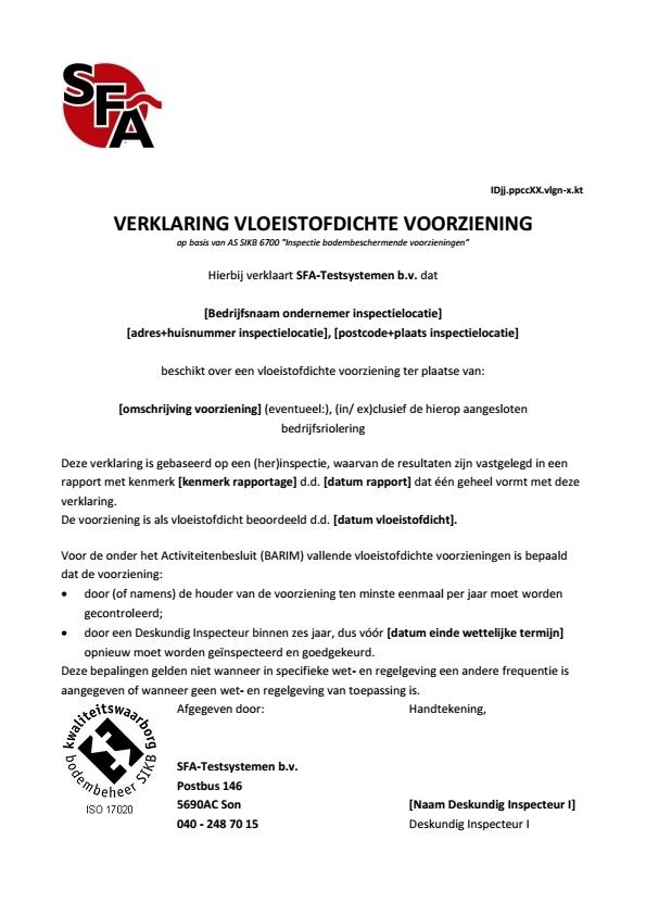 Verklaring vloeistofdichte vloer VB
